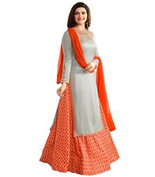 Buy Grey embroidered faux crepe salwar palazzo online