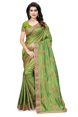 Green embroidered pure silk blend saree with blouse