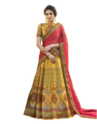Yellow pure banarasi natural silk printed lehenga with dupatta
