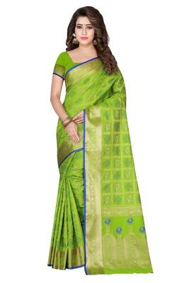 0ddf670df2 Light green woven kanchipuram silk saree with blouse - AVSAR PRINTS ...