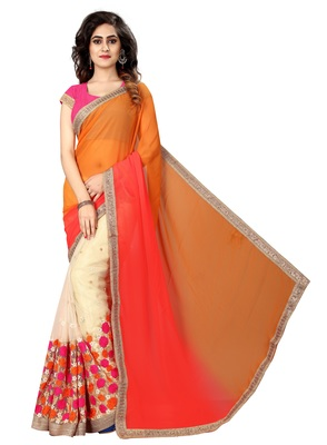 Orange embroidered georgette saree with blouse