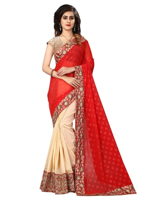 Red embroidered georgette saree with blouse