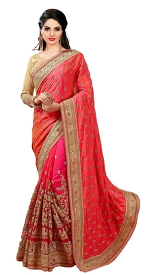 Orange embroidered dupion silk saree with blouse