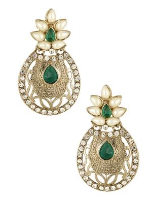 Flower Filigree Antique Rhodium Pearl Green Earring For Women