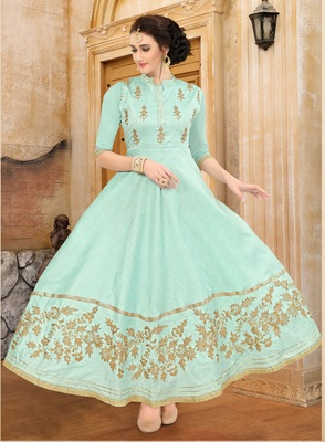 sea green embroidered Mulberry Silk Semi-stitched Gown