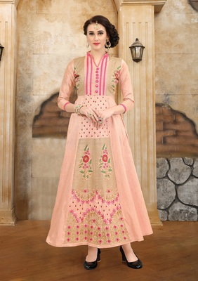 Peach embroidered Mulberry Silk Semi-stitched Gown