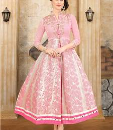 Buy Light Pink embroidered Mulberry Silk & Fancy jacquard Semi stitched Gown heavy-work-kurtis online