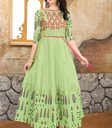 Green embroidered Mulberry Silk Semi-stitched Gown