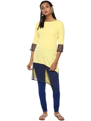 Yellow plain crepe kurti