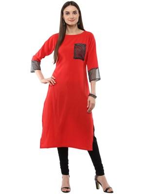 Red plain crepe kurti