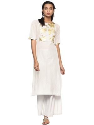 Cream printed cotton kurti