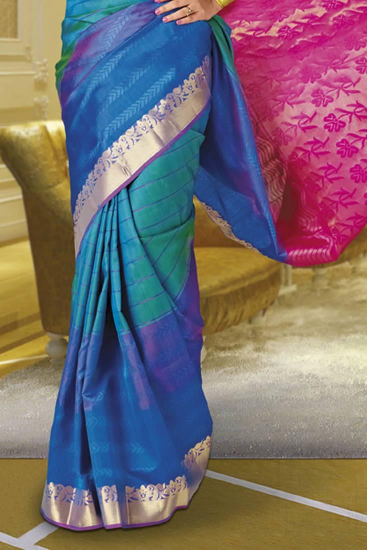 Blue Green Combo Handloom Silk Saree With Pink Zari Weaved Pallu