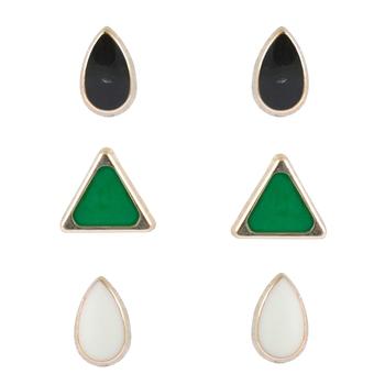 Bright colors pair of 3 stud earrings