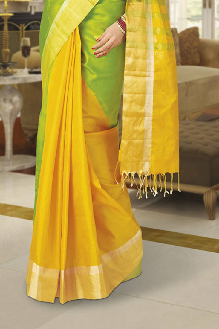 Buy Green Amp Yellow Combined Beautiful Zari Weaved Handloom