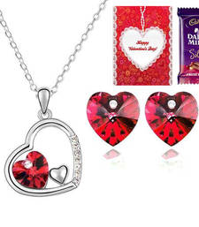 Buy Valentine Special Hearts to Heart Pendant Set with Valentine card and chocolate valentine-gift online