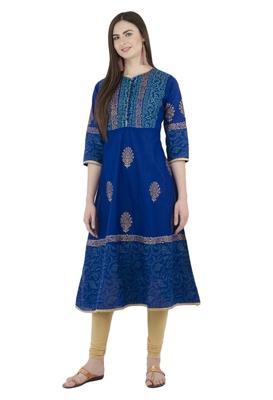 Blue printed cotton long-kurtis