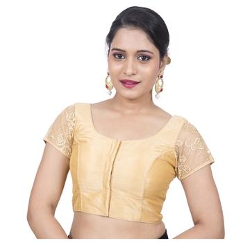 Gold Banglori Silk Cap Sleeves Padded Readymade Saree Blouse