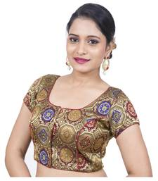 Maroon Brocade Embellished Padded Readymade Saree Blouse