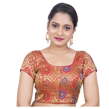 Red Brocade Embellished Padded Readymade Saree Blouse