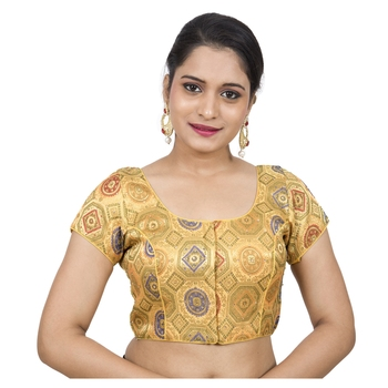 Yellow Brocade Embellished Padded Readymade Saree Blouse