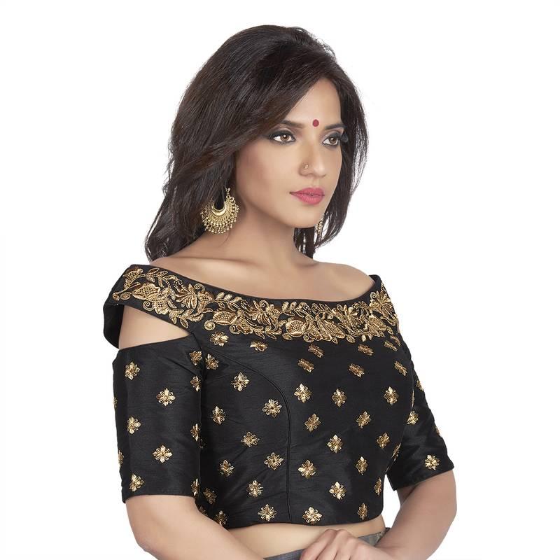 Black Embroidered Cold Shoulder Designer Readymade Saree