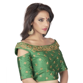 bfbbe7885006c Green Embroidered Cold Shoulder Designer Readymade Saree Blouse - 9blings -  2596091