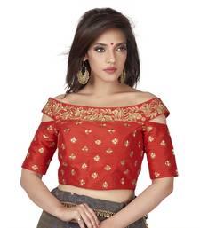 Red Embroidered Cold Shoulder Designer Readymade Saree Blouse
