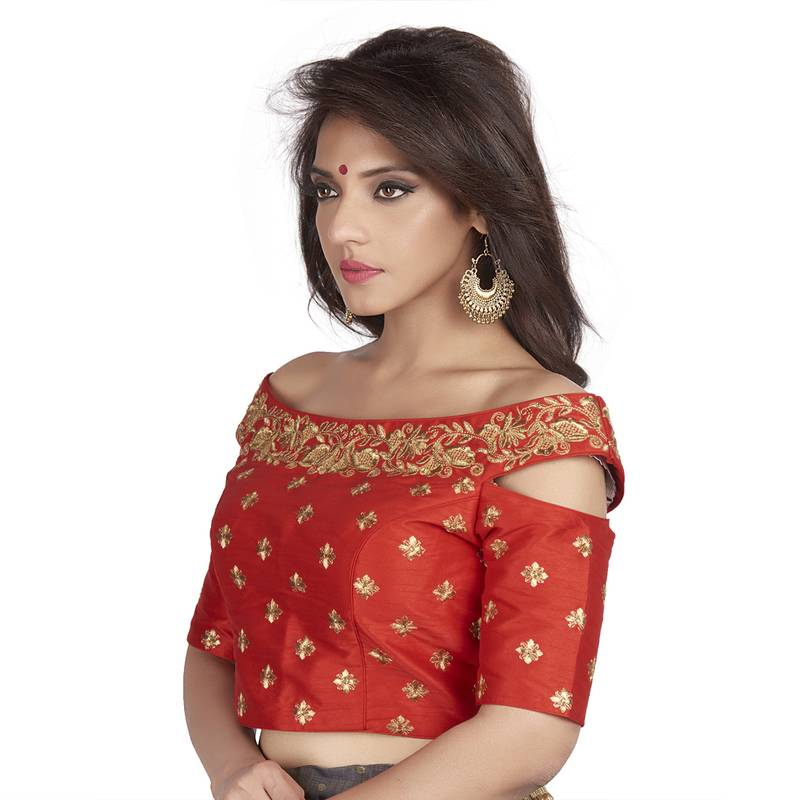Red Embroidered Cold Shoulder Designer Readymade Saree