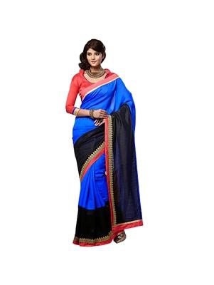 Blue plain jacquard saree with blouse