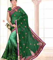 Buy Green embroidered brasso saree with blouse brasso-saree online