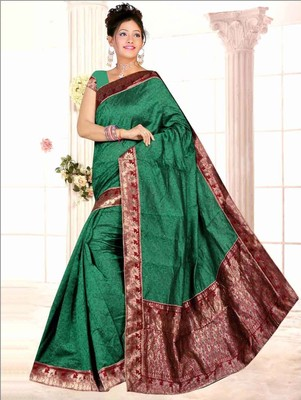 Green embroidered chanderi saree with blouse