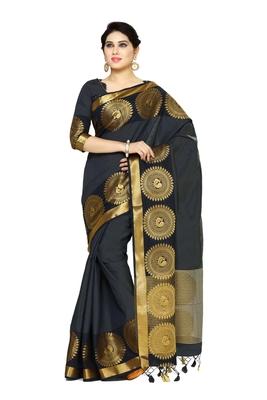 Black Woven Tussar Silk Saree With Blouse