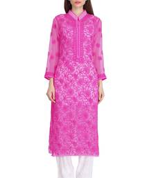 Magenta Embroidered Georgette Chikankari Kurti