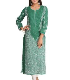 Green embroidered cotton chikankari-kurtis