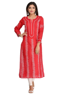 Red Embroidered Cotton Chikankari Kurti