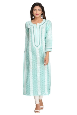 Sea Green Embroidered Cotton Chikankari Kurti