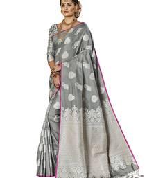 Buy Grey woven banarasi art silk saree with blouse art-silk-saree online