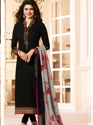 11b498bcb2 Black embroidered georgette salwar - Om Tex - 2597469