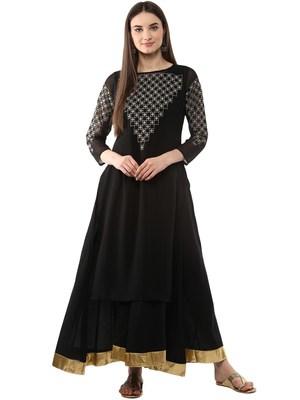 Black printed georgette kurti