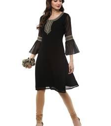 Buy Black printed georgette kurti georgette-kurtis online