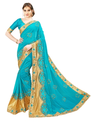 0818b962396 Turquoise embroidered art silk saree with blouse - GLORY SAREES - 2597959