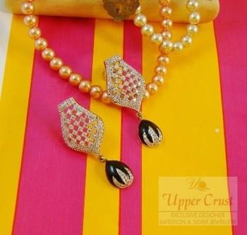Black Beauty CZ Diamond Stud Dangle Earrings