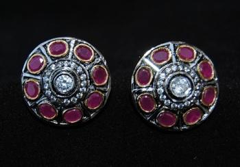 Round Ruby Diamond Stud Earrings