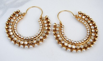 Polki Diamond Pearl Bali Hoop Earrings