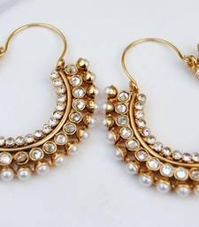 Polki Diamond Pearl Bali Hoop Earrings