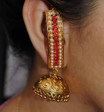 Gold Pearl Red Jhumka Earrings