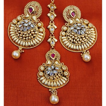 Gold Pearl Drop Chand Bali Earrings With Maang Tikka