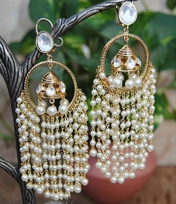 Designer Pearly Jhumka Dangler Earrings
