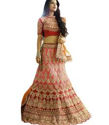 Buy Red thread embroidery silk semi stitched lehenga bridal-lehenga online