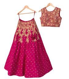 Buy Rani-pink thread embroidery art silk semi stitched lehenga ethnic-lehenga online